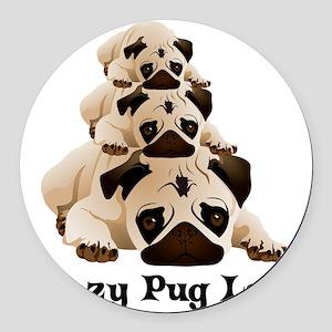 Crazy Pug Lady Round Car Magnet