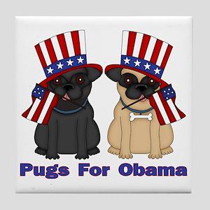 Pugs For Obama Tile Coaster