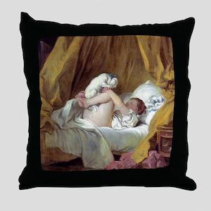 Jean-Honore Fragonard Girl With A Dog Throw Pillow