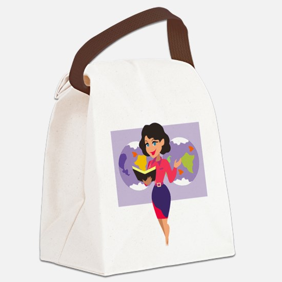 00105_Teacher.gif Canvas Lunch Bag