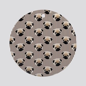 Pugs on Brown Stripes Round Ornament