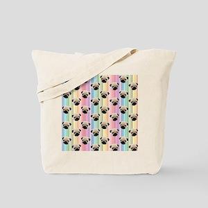 Pugs on Rainbow Stripes Tote Bag