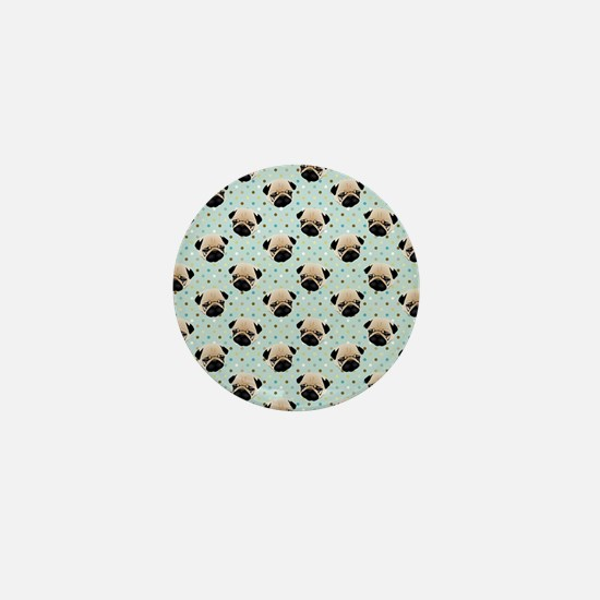 Pugs on Polka Dots Mini Button