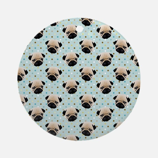 Pugs on Polka Dots Round Ornament