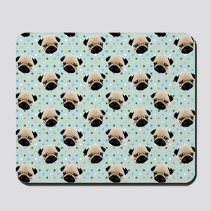 Pugs on Polka Dots Mousepad