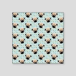 "Pugs on Polka Dots Square Sticker 3"" x 3"""