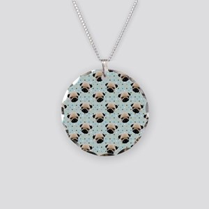 Pugs on Polka Dots Necklace Circle Charm