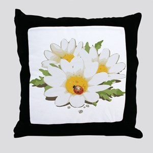 Watercolor Flowers with Ladybug Throw Pillow