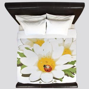 Watercolor Flowers with Ladybug King Duvet
