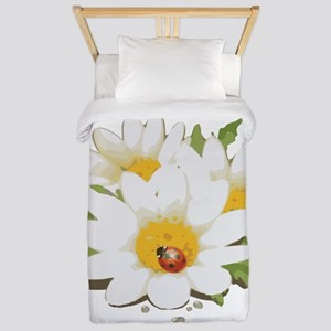 Watercolor Flowers with Ladybug Twin Duvet Cover
