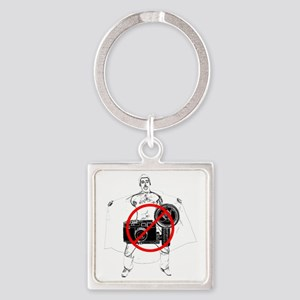 No Flash photography Square Keychain