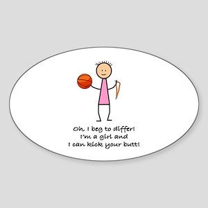 Girls Basketball Oval Sticker