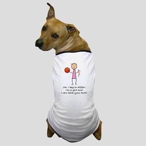 Girls Basketball Dog T-Shirt