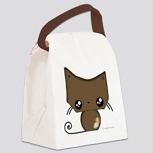 Omanju Neko Brown Canvas Lunch Bag
