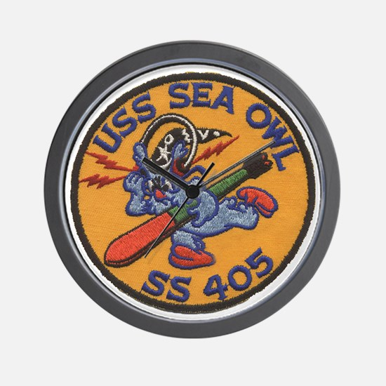 uss sea owl b patch transparent Wall Clock