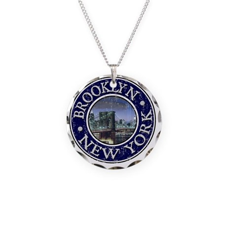 Brooklyn, NY - Distressed Necklace Circle Charm
