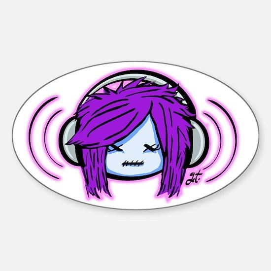 Scene Zombie Girl Sticker (Oval)