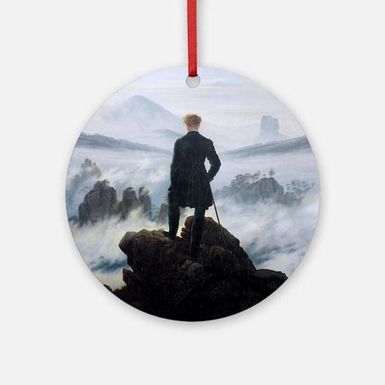 Caspar David Friedrich Wanderer Round Ornament