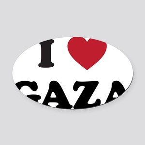 I Love Gaza Oval Car Magnet