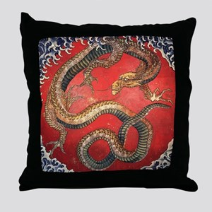 Katsushika Hokusai Dragon Throw Pillow