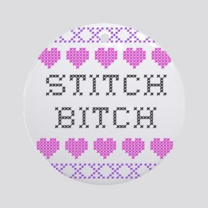 Stitch Bitch - Cross Stitch Ornament (Round)