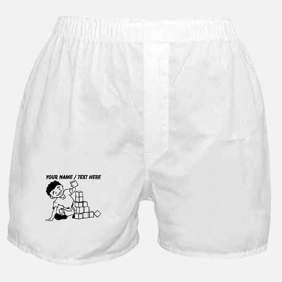 Custom Kid Playing With Blocks Boxer Shorts