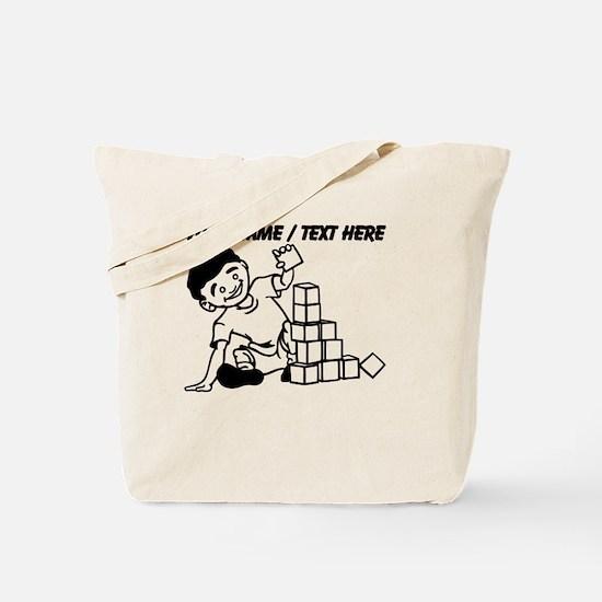 Custom Kid Playing With Blocks Tote Bag
