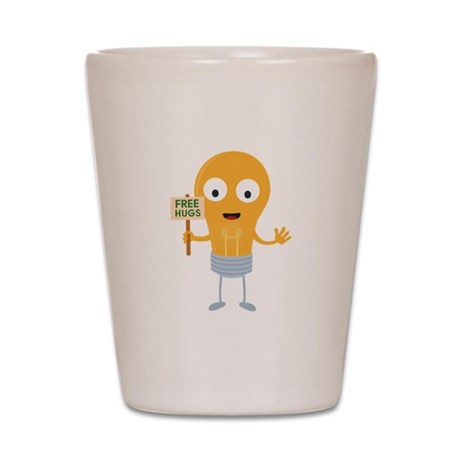 light bulb free hugs happy Cggq6 Shot Glass