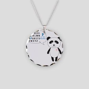 Alphabet Panda Necklace Circle Charm