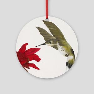 Hummingbird and Bee Balm Round Ornament