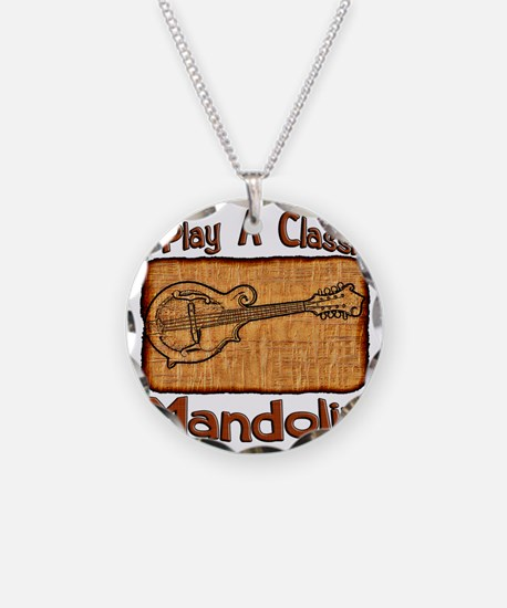Classic Mandolin Necklace Circle Charm