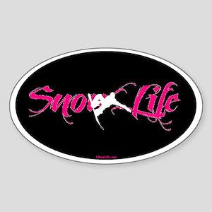 SnowLife Blackout Pink Font White B Sticker (Oval)