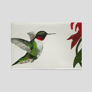 Hummingbird and Bee Balm Rectangle Magnet