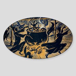 Vintage Halloween Witches Sticker (Oval)