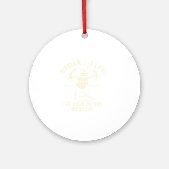 Vintage Vegan for life Round Ornament