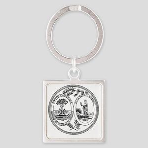 South Carolina State Seal Square Keychain