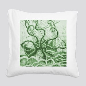 Green Kraken Square Canvas Pillow