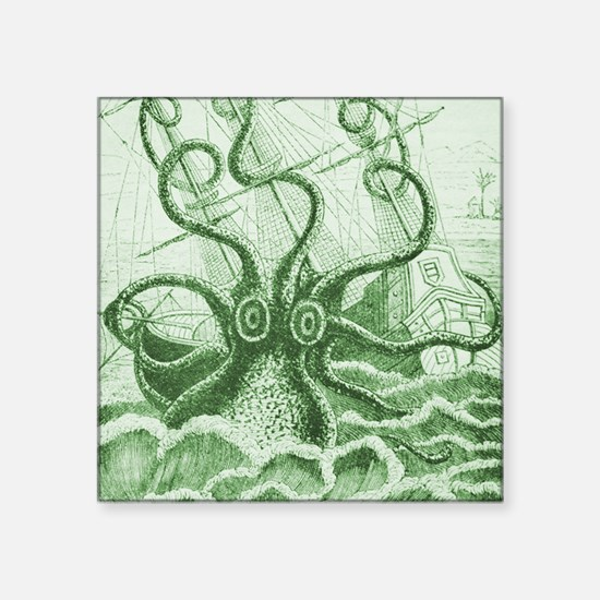 "Green Kraken Square Sticker 3"" x 3"""