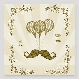 """Balloon Moustache Square Car Magnet 3"""" x 3"""""""