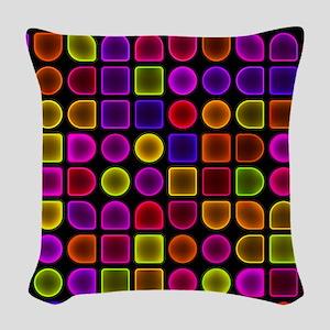 Neon Shower Curtain Woven Throw Pillow