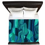 Reflections in Blue I Abstract Angels King Duvet