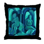 Reflections in Blue I Abstract Angels Throw Pillow