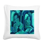 Reflections in Blue I Square Canvas Pillow