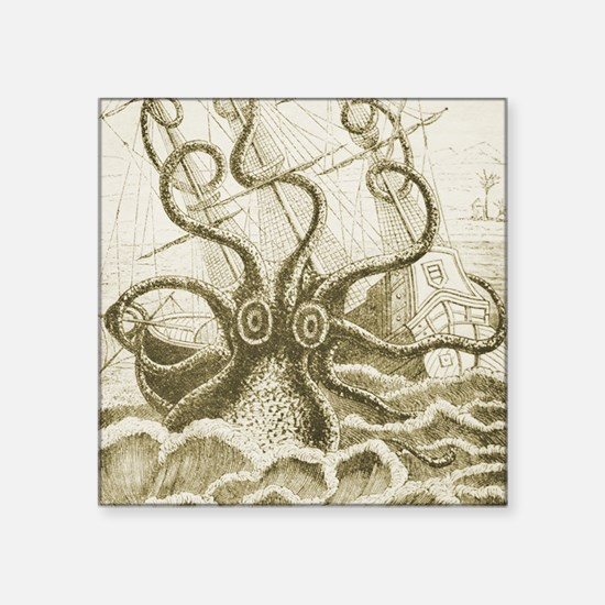 "Sepia Kraken Square Sticker 3"" x 3"""