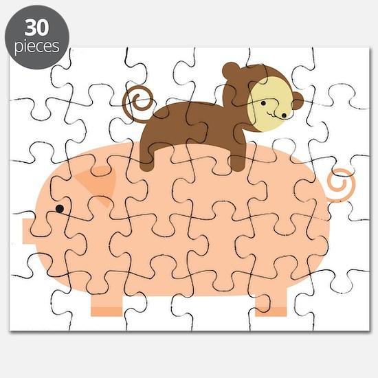 Baby Monkey Riding Backwards on a Pig Puzzle