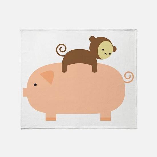 Baby Monkey Riding Backwards on a Pi Throw Blanket
