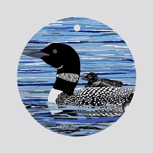 loon with babies Round Ornament