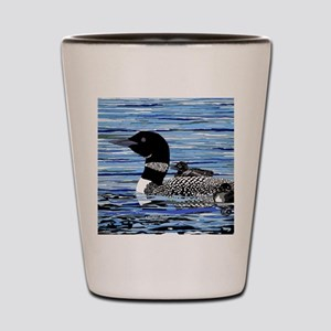loon with babies Shot Glass
