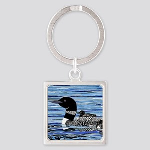 loon with babies Square Keychain