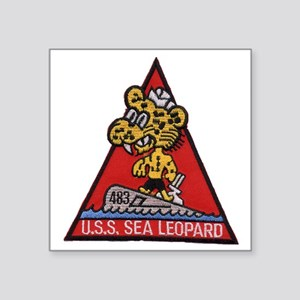 "uss sea leopard patch trans Square Sticker 3"" x 3"""